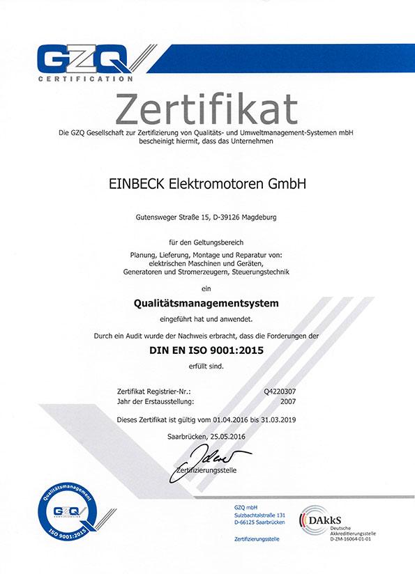 Qualitätsmanagement Zertifikat